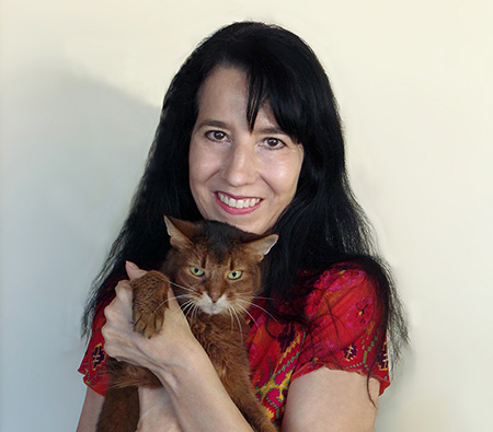 Janiss Garza, FitCat Enterprises Editor and Publisher with Sparkle the Designer Cat, author of Dear Sparkle